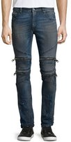 Just Cavalli Vintage Dirty Slim-Fit Moto Denim Jeans, Blue