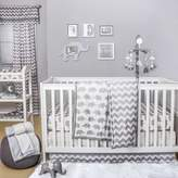 The Peanut Shell Elephant 4-Piece Crib Bedding Set in White/Grey