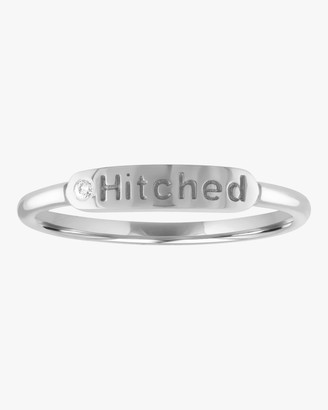 My Story Hitched Skinny Signet Diamond Mantra Ring