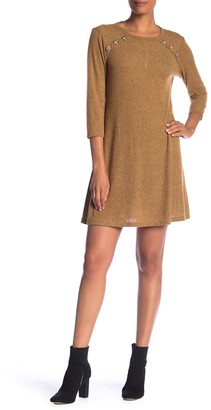 Como Vintage Rib Knit Button Accent Dress