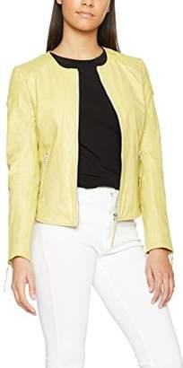 Maze Women's MJ1-71-Bird Round Collar Long Sleeve Jacket - Yellow - UK 16