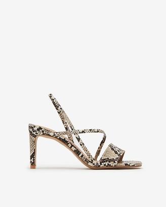 Express Snakeskin Print Square Toe Heel Sandals