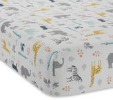 Lambs & Ivy Animal Crackers Fitted Crib Sheet in Grey/Yellow