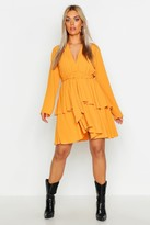 boohoo Plus Plunge Tie Waist Skater Dress