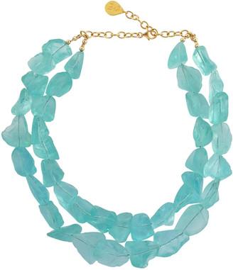Devon Leigh Double-Strand Raw Quartz Necklace, Blue