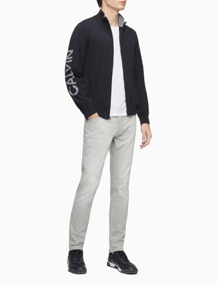 Calvin Klein Cotton Blend Logo Full Zip Sweater