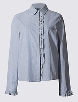 Limited Edition Pure Cotton Striped Ruffle Poplin Shirt