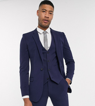 ASOS DESIGN Tall super skinny suit jacket in four way stretch in navy