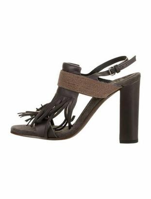 Brunello Cucinelli Monili Leather Slingback Sandals Grey