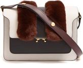 Marni Trunk medium fur-trimmed leather shoulder bag