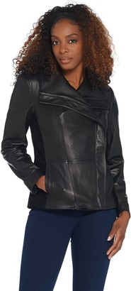 H by Halston Leather and Suede Motorcycle Jacket