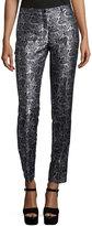 Michael Kors Samantha Paisley-Print Skinny Pants, Black/White