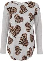 Quiz Light Knit Leopard Heart Print Zip Back Top