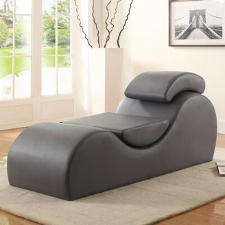 Latitude Run Quiroz Chaise Lounge Fabric: Faux leather Chocolate