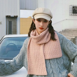 VDONGYUKE Ribbed Knit Scarf Neck Warmer Chunky Long Scarves Wrap Thick Warm for Women Ladies (Pink)