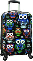 "Traveler's Choice Colorful Owl 22"" Hardside Carry-On Spinner Luggage"