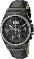 Wittnauer Men's WN1012 24.5mm Leather Crocodile Black Strap Watch