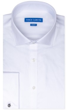 Vince Camuto Men's Slim-Fit Stretch Solid French Cuff Dress Shirt