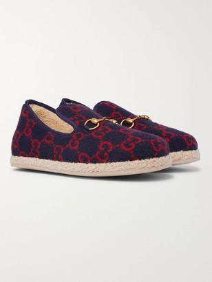 Gucci Horsebit Logo-Print Merino Wool Loafers - Men - Blue