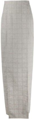 Loulou Split-Hem Checked Maxi Skirt