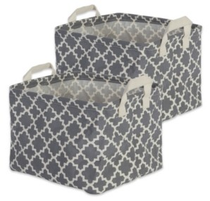 Design Imports Polyethylene Coated Cotton Polyester Laundry Bin Lattice Rectangle Small Set of 2