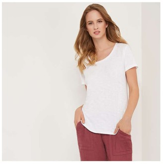 Joe Fresh Women's Slub Knit Tee, White (Size S)