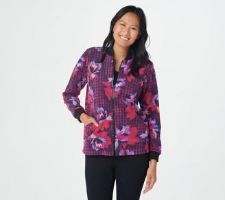 Bob Mackie Houndstooth Floral Print Fleece Jacket