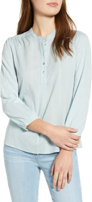 Lucky Brand Mixed Weave Button Front Top