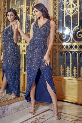 Sistaglam FREYAH NAVY BEADED SPLIT DRESS