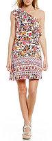 Sequin Hearts Floral Border-Print Ruffled One-Shoulder Shift Dress