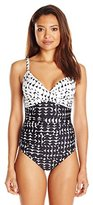 Calvin Klein Women's Cresent Geo Twist One Piece Swimsuit with Sewn in Cups and Tummy Control