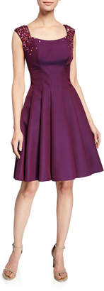 Zac Posen Gaufre Sequined Fit-&-Flare Dress