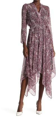Tommy Hilfiger Leopard Print Handkerchief Hem Midi Dress