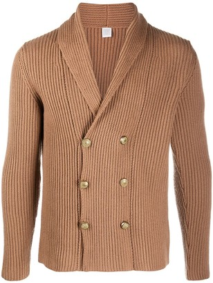 Eleventy Ribbed-Knit Double Breasted Cardigan