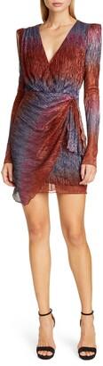 PatBO Faux Wrap Long Sleeve Cocktail Dress