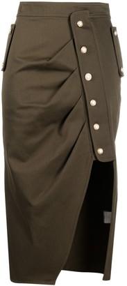 Amen Open-Slit Gathered Skirt
