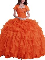 SDRESS Women's Rhinestones Sweetheart Ball Gown Tulle Quinceanera Dress With Wrap