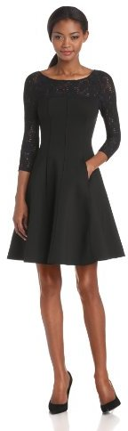 Tracy Reese Women's Neoprene Long Sleeve Fit and Flare Frock with Lace