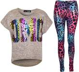 a2z4kids Kids Girls OMG Print T Shirt Top & Wet Look Leopard Legging Outfit Set 7-13 Yrs