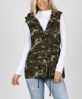 Zenana Women's Outerwear Vests CAMOUFLAGE_IPB - Camo Hooded Cargo Vest - Women