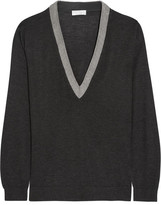 Brunello Cucinelli Beaded Cashmere And Silk-blend Sweater - Dark gray