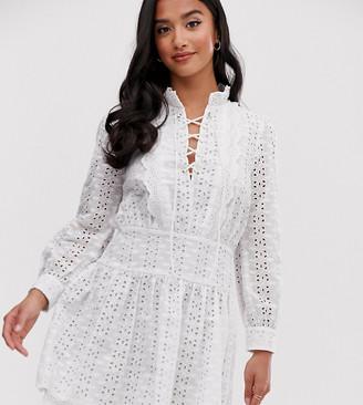 ASOS DESIGN Petite tiered broderie mini dress