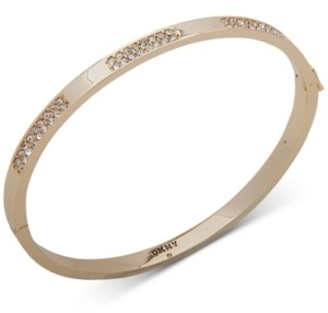 DKNY Gold-Tone Crystal Pave Inlay Bangle Bracelet