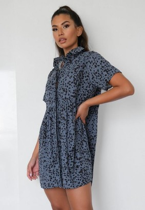 Missguided Blue Dalmatian Print Shirt Smock Dress