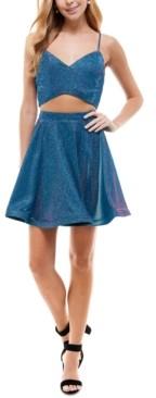 City Studios Juniors' 2-Pc. Glitter Fit & Flare Dress