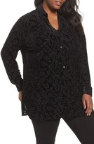 Foxcroft Plus Size Women's Jade Velvet Burnout Blouse