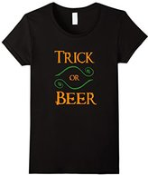 Women's Trick or Beer Funny Trick or Treating T-Shirt Large