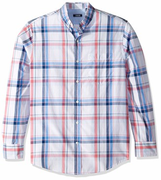 Izod Men's Breeze Long Sleeve Button Down Plaid Shirt