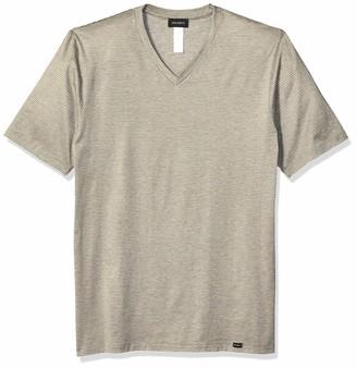 Hanro Men's Sporty Stripe Short Sleeve V-Neck Shirt