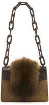 Nancy Gonzalez Sable Fur/Python Small Chain-Strap Shoulder Bag, Brown
